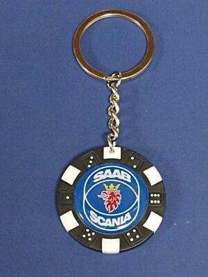 SAAB SCANIA #2 LOGO POKER CHIP DICE KEYRING KEY RING CHAIN #286 DARK BLUE, used for sale  USA