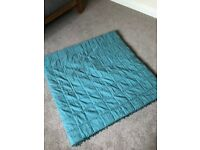 LAURA ASHLEY MIA PADDED THROW BEDSPREAD TEAL 2M X 2M WITH DROPLET DETAIL