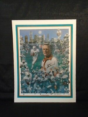 Don Shula Signed Miami Dolphins Large Paul Miller NFL Lithograph JSA W134304