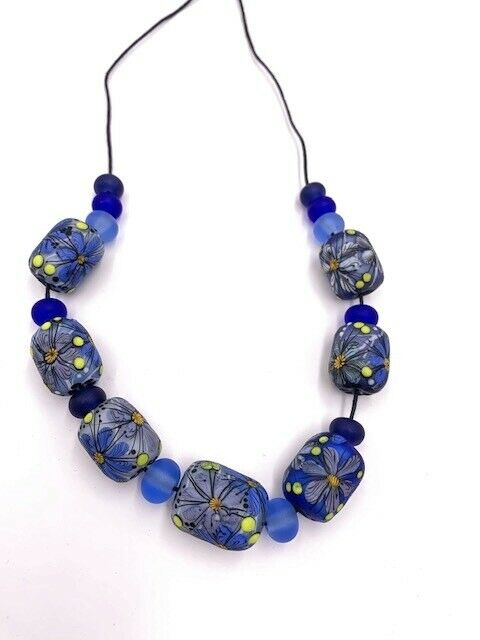 ANASTASIA HANDMADE GLASS LAMPWORK BARREL BEADS PURPLE GREY ORANGE YELLOW BLUE