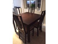 Extendable Ikea Dining Table And 4 Chairs Like New Condition No Visible Marks - 1 Year Old