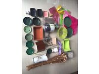 Job lot of flower arranging items: flowers, Vases, Pots, Trays, Containers. Collect Fulham