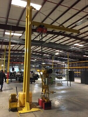 Swing Arm Jib Crane 1500lb Capacity 16 Tall 10 Arm Lodestar 1 Ton Hoist