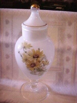Vintage Clear Cased White Art Glass Compote,w/lid Yellow Flowers Stemmed 9 1/2""