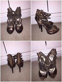Bronze high heels size 3