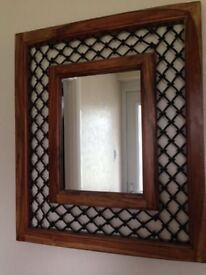 Large Solid Hardwood Mirror with Wrought Iron detail