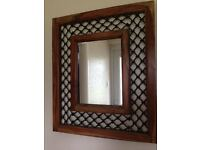 Solid Hardwood Mirror with Wrought Iron detail