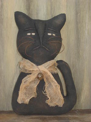 Prim Grungy Folk Art Kitty Cat with Sculpted Face