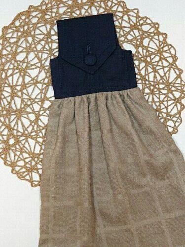Homespun Navy Blue Solid Fabric Top Tan Hanging Handmade Hand Towel