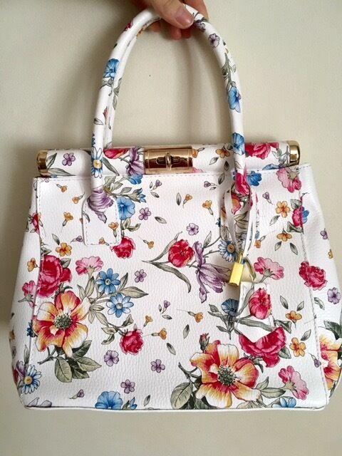 Italian Genuine Leather Floral Handbag In Abingdon