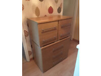 2 x Oak effect Bedside Cabinets and one Three Drawer Chest of Drawers