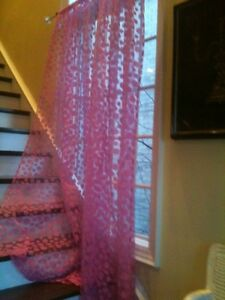Pink Circle Sheer Sun Curtains 2x Daisy Rods Window Rod Blinds