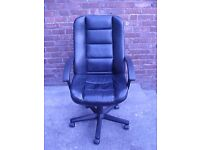 Black Leather Style Computer / Office Chair 5 Castor Feet Adjustable
