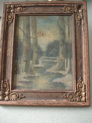 Old Antique Attic Find Painting Unsigned Oil on Board Forest Landscape