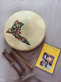 "Bodhran 14"" - celtic knot design on natural goatskin head plus beaters, bag and book"