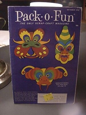 Vintage Oct.1972 HALLOWEEN PACK-O-FUN Craft  Magazine w/Monster Masks