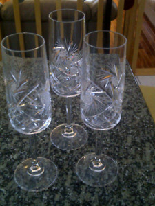"""3 COUPES NEUVES À CHAMPAGNE 9"""" H CRYSTAL PINWHEEL"""