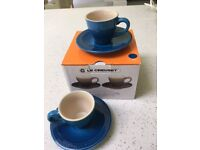 Le Creuset Stoneware Set of 2 Espresso Cups and Saucers (Blue)