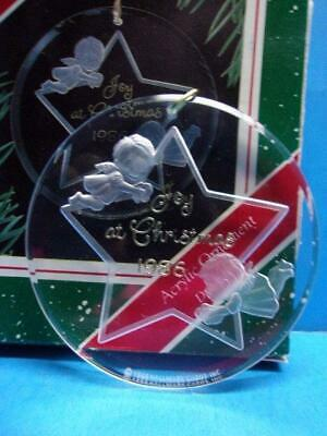 Hallmark 1986 JOY AT CHRISTMAS Acrylic Ornament Angels Cherubs Star Brighteners ()