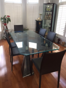 Dining Table set - glass top, marble base,  leather chairs