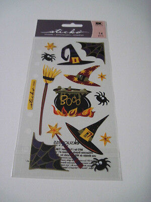 Scrapbooking Stickers Sticko Halloween Witch's Brew Boo Witch Hats Broom Spiders (Halloween Scrapbooking)