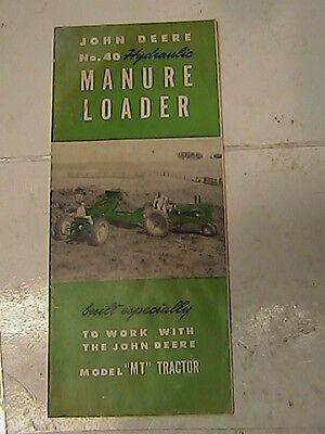 Orignal John Deere Mt 2 Cylinder Tractor Model 40 Front Loader Sales Foldout