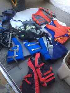Life Jackets, ski rope, wake board, tube,