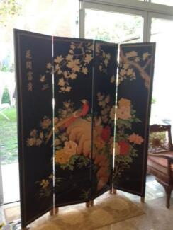 Oriental Antique Hand Painted Screen Earlwood Canterbury Area Preview