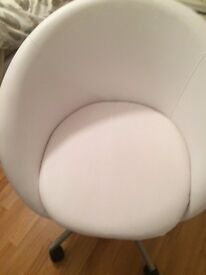 White Faux leather cub chair with swivel