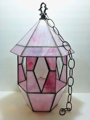 "Beautiful 16"" STAINED GLASS Pagoda Style BIRD FEEDER Pink Hexagon GAZEBO Chain"
