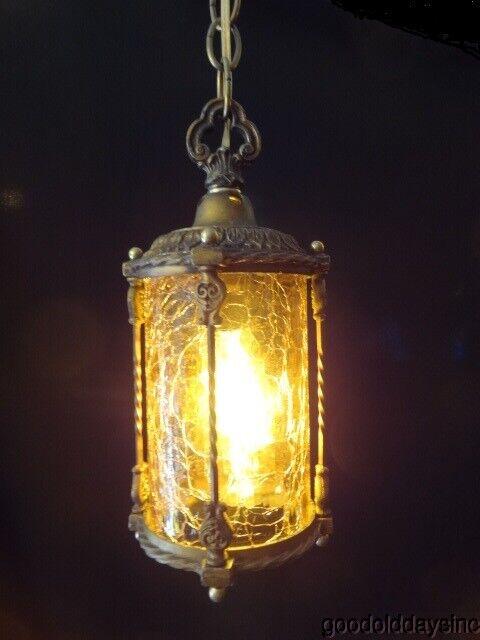 Antique 1920s Brass & Amber Crackle Glass Pendant Light Fixture - Chandelier