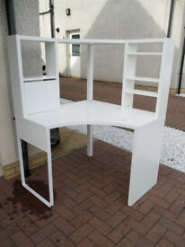 Ikea Micke white corner desk table workstation, lovely clean condition, table top storage shelves