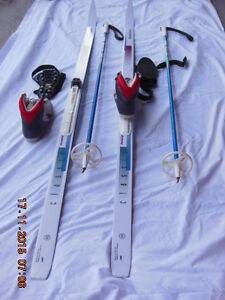 CROSS COUNTRY SKIS, POLES, BOOTS, ICER'S