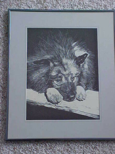 Vintage 1956 Etching Black and White Husky Dog H. Oglanian artist Orginal Art