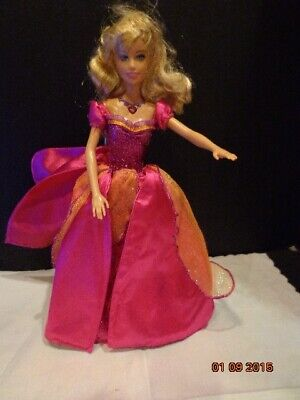 Barbie with Crown Wind Up Dress Works Gorgeous rose pink w/ glitter 2005