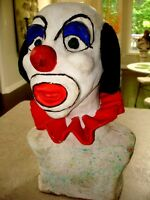 Large CLOWN HEAD BUST sculpted clay TOO COOL! very heavy CREEPY