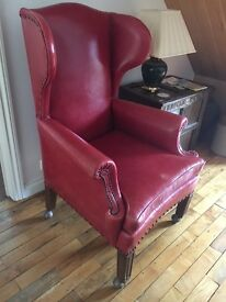 Red leather Edwardian wing back chair £250