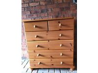 Solid Pink Oak Bedroom Chest Drawers in Very Good Condition