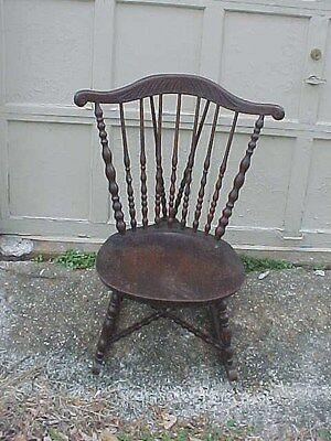 ANTIQUE ROCKING CHAIR / SAUSAGE SPINDLE BACK - CARVED CURVED CREST- SOLID SEAT