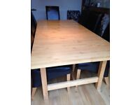 Large Extending Dining Table with Chairs