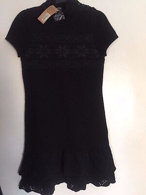 New Women WHO. A.U Snowflake Embroidery Knitted Sweater Black Dress M
