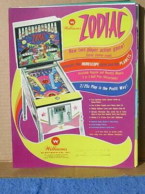 1971 Williams ZODIAC Pinball Advertising Flyer