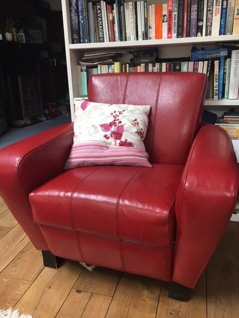 Red Leather ART DECO Armchair