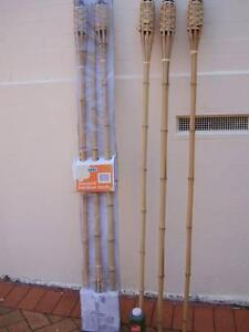6 x LONG BAMBOO GARDEN TORCH FLARES PLUS 1 LITRE LAMP OIL Strathfield Strathfield Area Preview