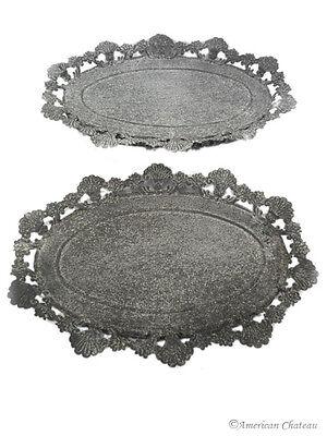 Set of 2 Ornate Metal Toleware Distressed Grey Serving Trays w/ Floral Edges ()