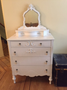 Antique Painted Dresser with Mirror.