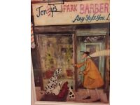 Barber shop Print Tony's Park Barbers Mounted framed new