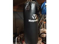 Hayashi 4ft hanging punch/kick bag and two curved strike pads. Excellent condition, barely used