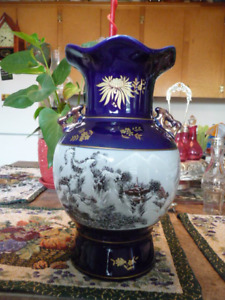 Beautiful Large Cobalt Blue, White And Gold Chinese Vase