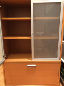 IKEA office desk and cabinets
